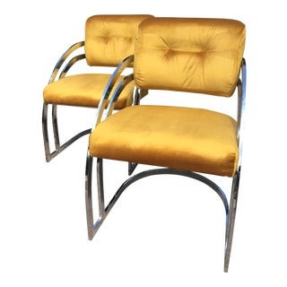 Milo Baughman Style Cantilever Chairs- A Pair For Sale