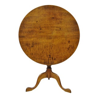18th Century Antique Tiger Stripe Maple Tilt Top Queen Anne Tea Table For Sale