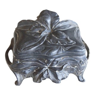 Art Nouveau Metal Trinket Box For Sale