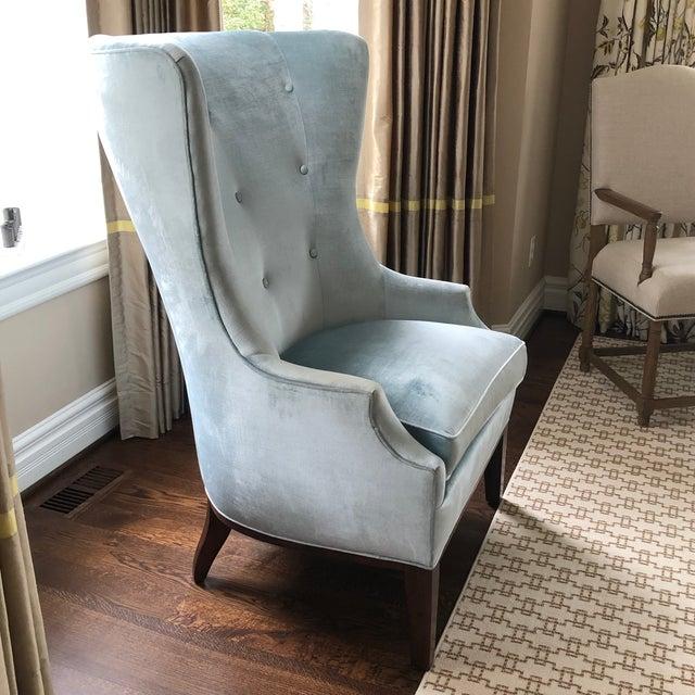 2010s Modern Charles Stewart Blue Velvet Wingback Chair For Sale - Image 5 of 8