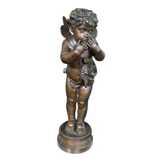 Vintage Bronze Putti Statue Signed Rubin For Sale
