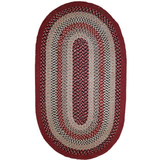1930s Antique American Handmade Braided Oval Rug - 2′2″ × 3′9″