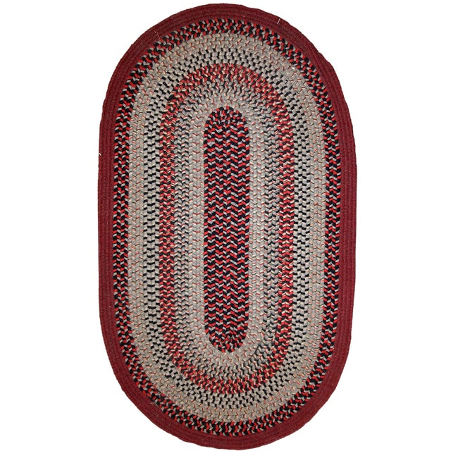 1930s Antique American Handmade Braided Oval Rug - 2′2″ × 3′9″ For Sale