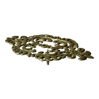 1960s Solid Brass Trivet Pot Stand For Sale