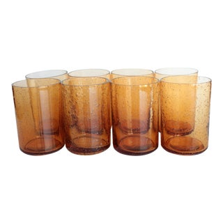 Amber Bubble Glass Juice Glasses - Set of 8 For Sale