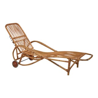 Adjustable Bamboo garden chaise longue, Germany, 1930s For Sale