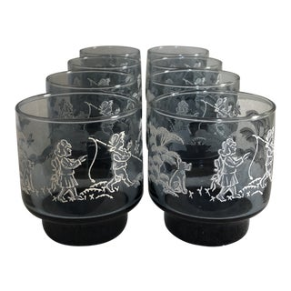 Vintage Libbey Glass Mary Gregory Tumblers- Set of 8 For Sale