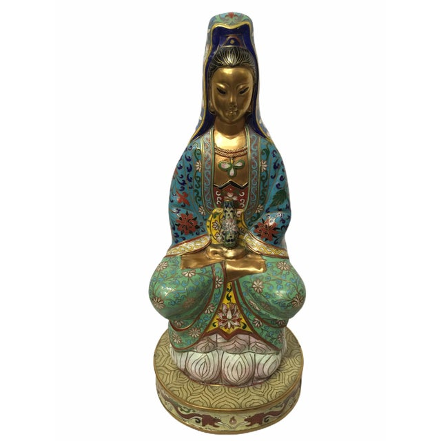 Vintage 1940s Cloisonné Kwan-Yin GuanYin Statue / Figurine For Sale - Image 10 of 13