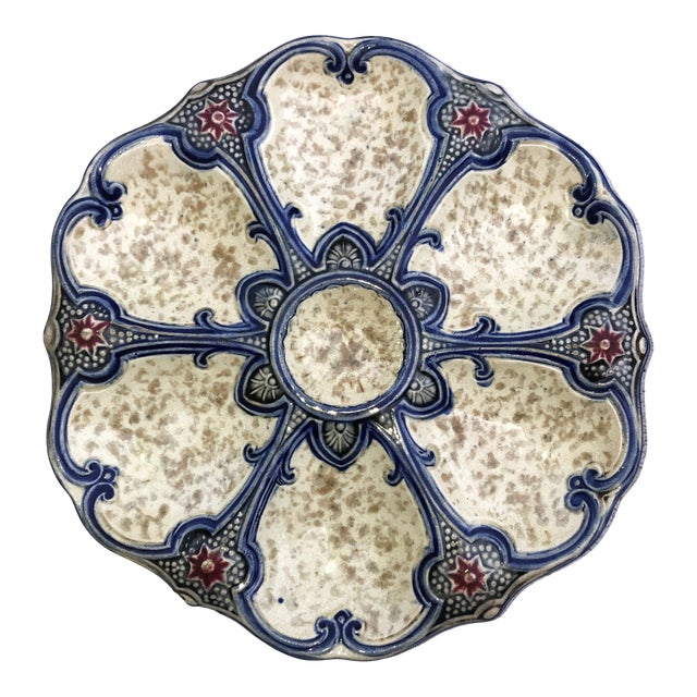 19th Century Majolica Oyster Plate Wasmuel For Sale