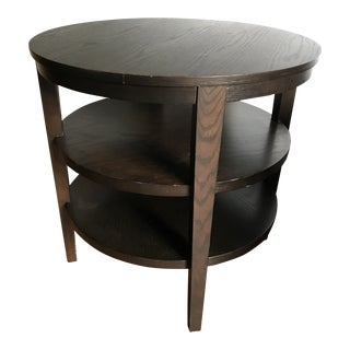 Crate and Barrel Modern, Dark Wood Round Side Table