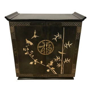 Chinese Mother of Pearl Inlaid Ebonized Black Liquor Bar Cabinet Sideboard For Sale