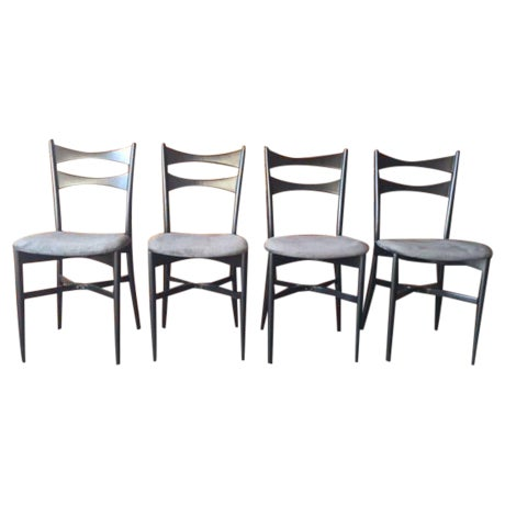 Mid-Century Gio Ponti Style Ladder Back Chairs - Set of 4 - Image 1 of 6