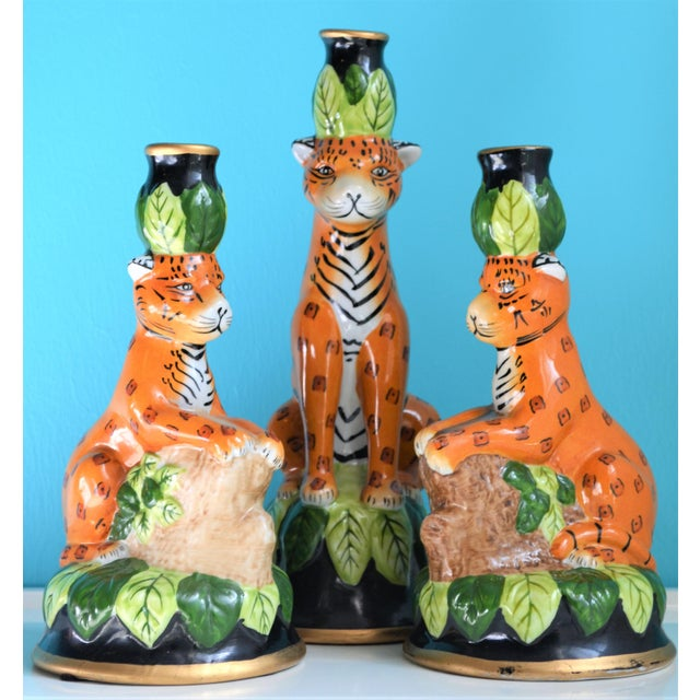 Vintage Palm Beach Regency Leopard Candle Holders- Set of 3 For Sale In Houston - Image 6 of 9