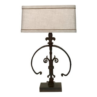 19th C. Iron Fragment Table Lamp with Custom Linen Shade For Sale