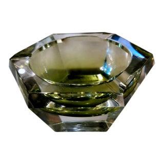 Mid-Century Modern Green Shaded Crystal Hexagonal Ashtray For Sale