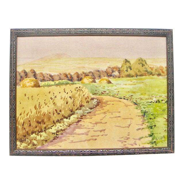 1950s Vintage H. Cook, l.r. Rural California Landscape Watercolor Painting For Sale