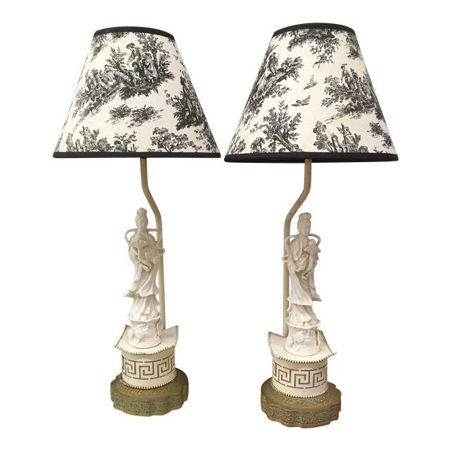 Vintage Oriental Porcelain Lamps - a Pair For Sale