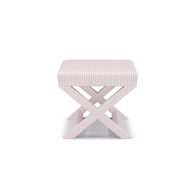 The Inside X Bench in Pink Ticking Stripe For Sale - Image 4 of 4