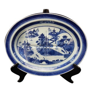 Antique Large Chinese Blue and White Nan King Tree and Well Platter. For Sale