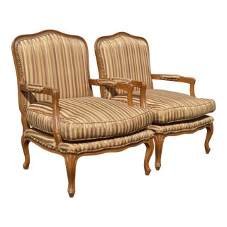Vintage French Country Brown Stripped Accent Chairs With Down Cushions - a Pair