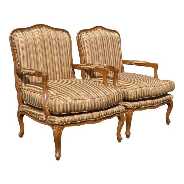 Vintage French Country Brown Stripped Accent Chairs With Down Cushions - a Pair For Sale