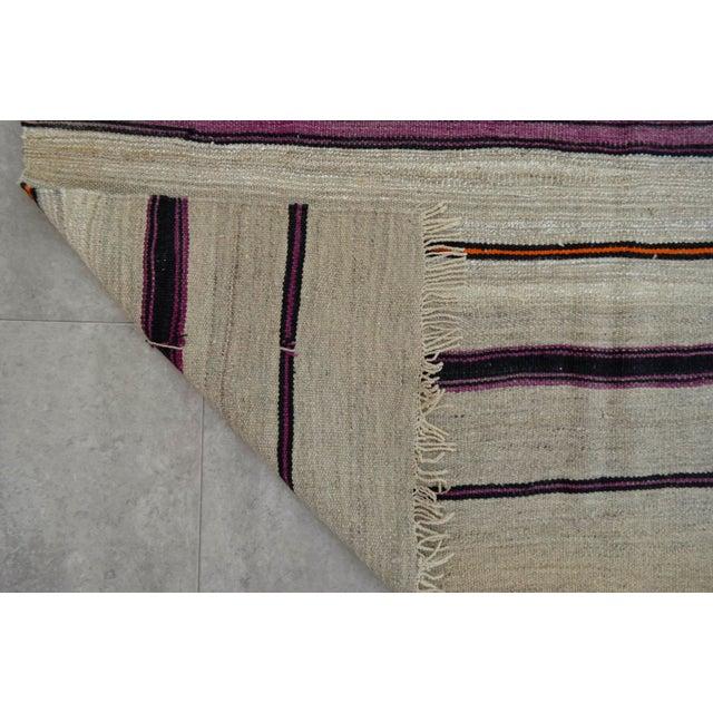 Vintage Natural Turkish Wool Stripe Kilim Rug - 4′6″ × 7′8″ - Image 8 of 9