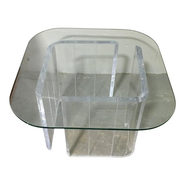 Lucite & Glass Side Table - Image 1 of 4
