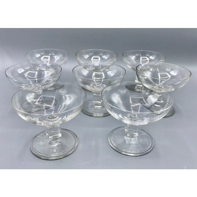 Mid 20th Century Vintage Mid-Century Nevel Cube Stem Crystal Coupe Champagne Glasses by Val St. Lambert - Set of 8 For Sale - Image 5 of 10