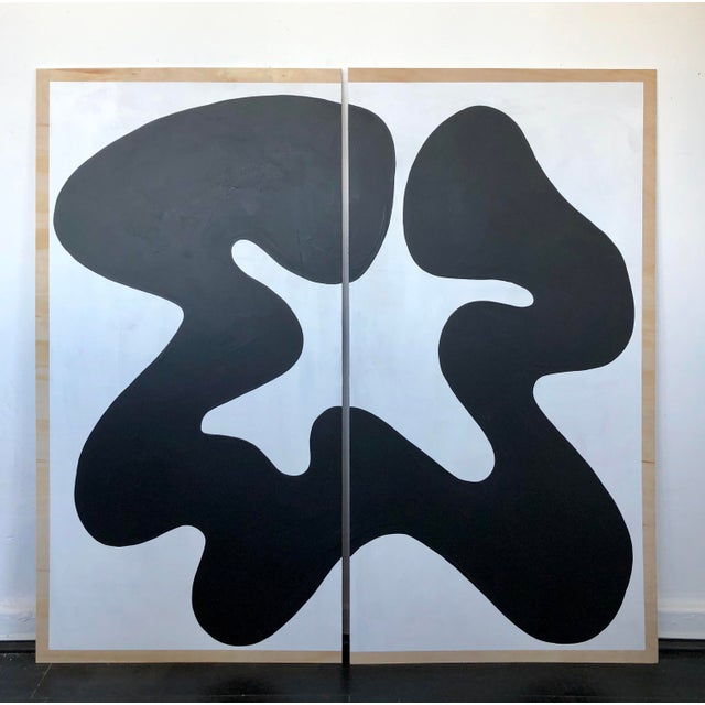 The Big Swim X Hannah Polskin Black and White Abstract Diptych For Sale - Image 9 of 9