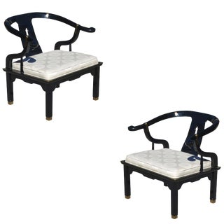 Pair of Horseshoe Lounge Chairs in the Manner of James Mont For Sale