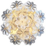 Image of Vintage Medium Ernst Palme Brass and Floral Glass Flush Mount Sconce For Sale
