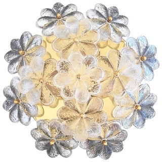 Vintage Medium Ernst Palme Brass and Floral Glass Flush Mount Sconce For Sale
