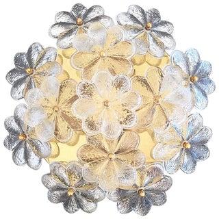 Vintage Small Ernst Palme Brass and Floral Glass Flush Mount Sconce For Sale