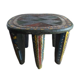"African Lg Colorful Nupe Stool / Table Nigeria 14"" H by 17.5"" W For Sale"