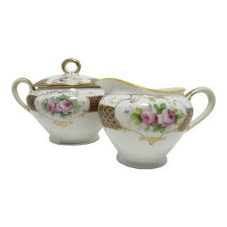 Antique Noritake Porcelain Handpainted Pink Roses Sugar & Creamer Set For Sale