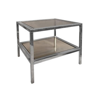 1970s French Two-Tier Brass and Chrome Square Side Tables With Smoked Glass For Sale