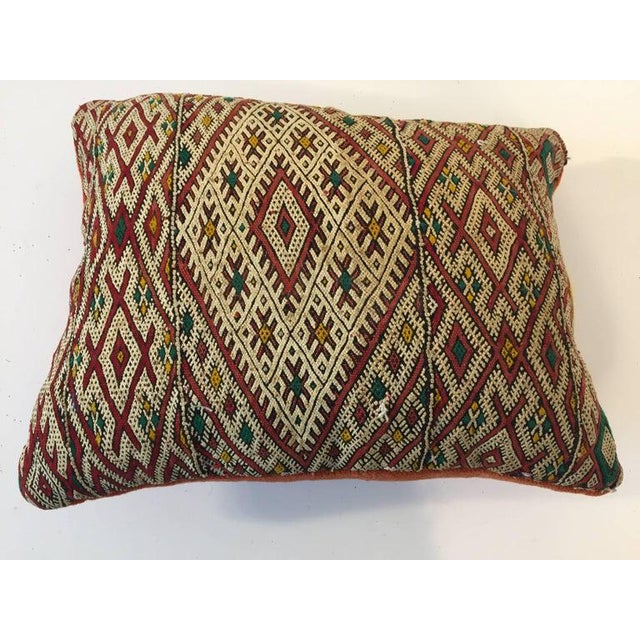 Red Handwoven Moroccan Tribal Berber Throw Pillow For Sale - Image 8 of 10
