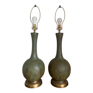 Original 1960's Gourd Style Drip Glaze Pottery Table Lamps - a Pair For Sale
