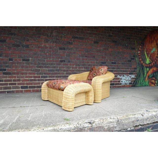 Rattan Lounge Chair With Ottoman For Sale - Image 12 of 12