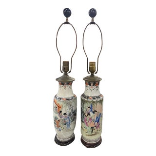 1940s Pair of Chinese Lamps For Sale