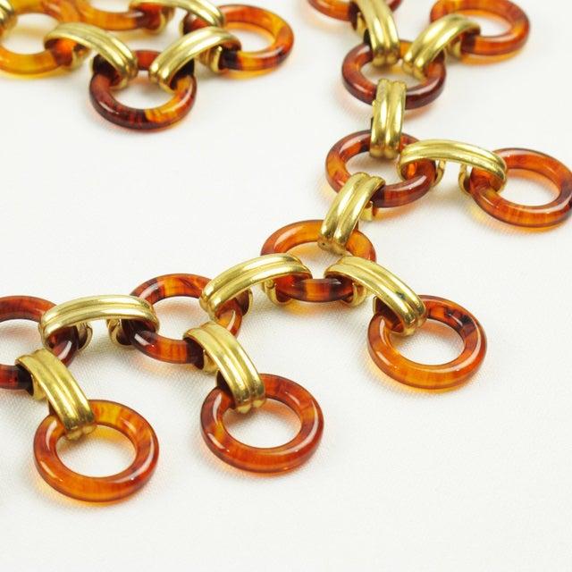 Gold Yves Saint Laurent Paris Tortoise Lucite Brass Necklace Waist or Hip Belt For Sale - Image 8 of 10