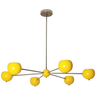 Blueprint Lighting NYC Model 320 Nickel + Yellow Enamel Chandelier For Sale