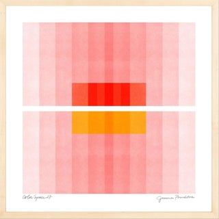 """Color Space Series 27: Pink, Red, Yellow - 20""""x20"""" - Natural Wood Frame For Sale"""