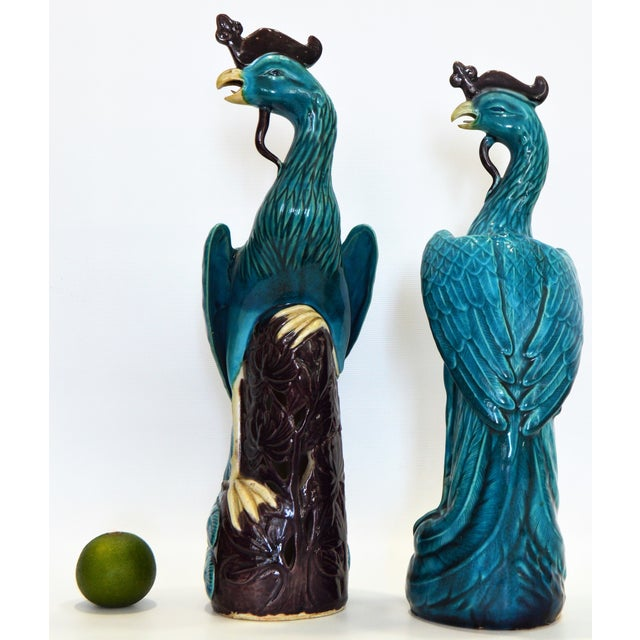 Extra Large Antique 1940s Chinese Porcelain Phoenix Bird Figurines - a Pair-Oriental Sculpture Asian Mid Century Modern Palm Beach Tropical Parrots For Sale - Image 4 of 13