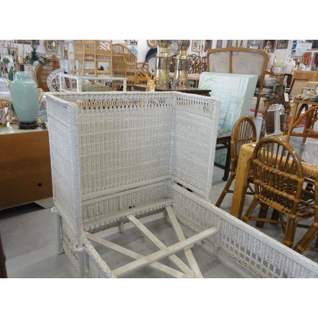 Vintage Hooded Wicker Twin Bed For Sale - Image 4 of 7