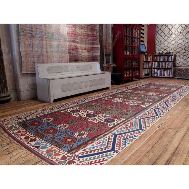 A fantastic antique Kilim from Central Anatolia, with its larger-than-usual size, its dramatic border design and excellent...