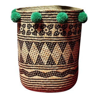 Borneo Drum Tribal Straw Basket with Lush Green Pom-poms