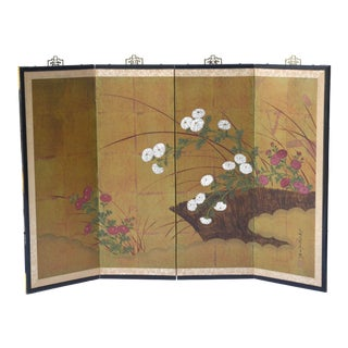 Antique Japanese Small 4-Panel Folding Screen Painting For Sale