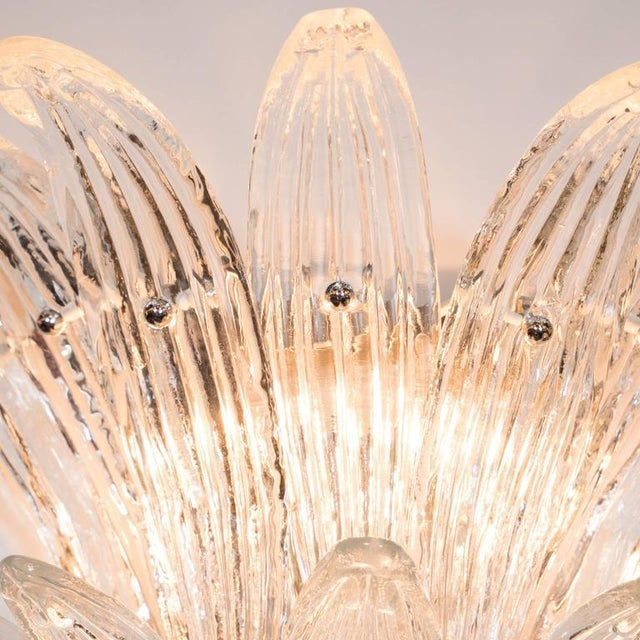 Gorgeous Pair of Mid-Century Two-Tier Palma Sconces in Clear Murano Glass - Image 4 of 6