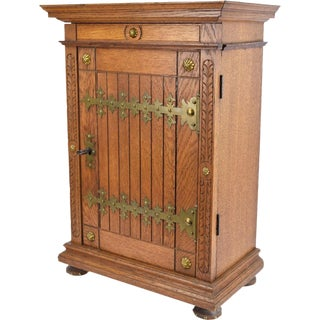 Gothic Revival Oak Locking Wall Cabinet
